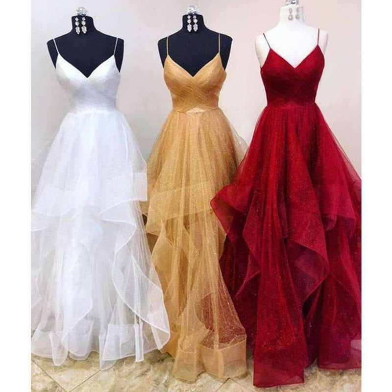2019 Spaghetti Strap A Line Floor Length Long Formal Dresses Custom Made
