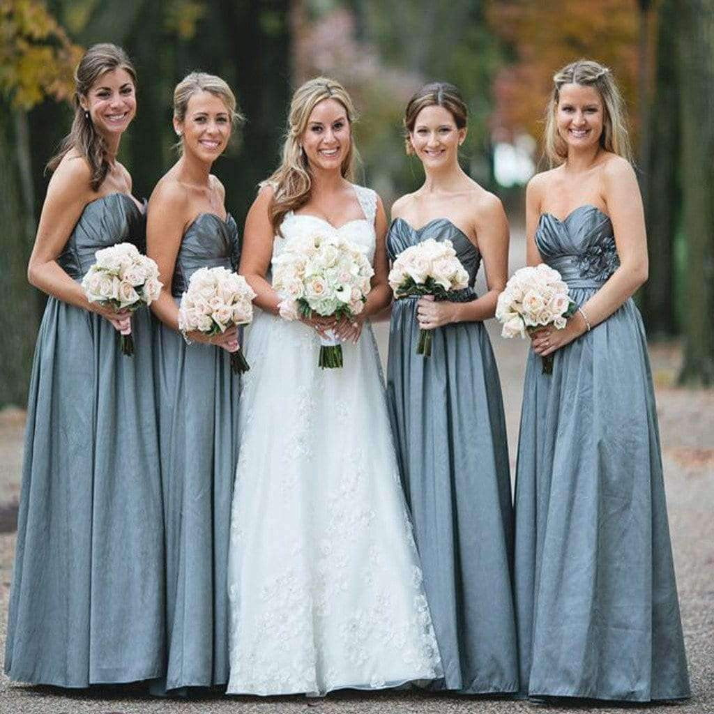 2019 Sweetheart A-line Simple Country Vintage Long Bridesmaid Dress. AB077