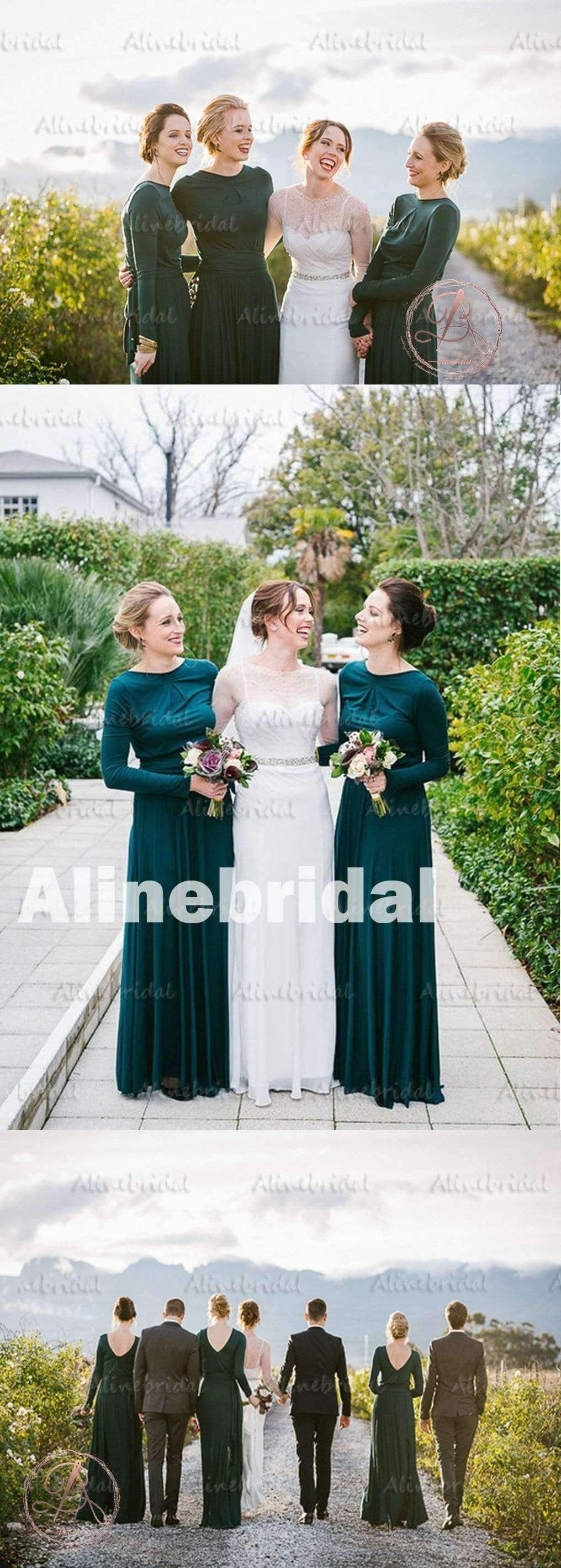 2019 Winter Hot Sale Green Jersey Long Sleeve Round Neck Modest Long Bridesmaid Dress. AB1181