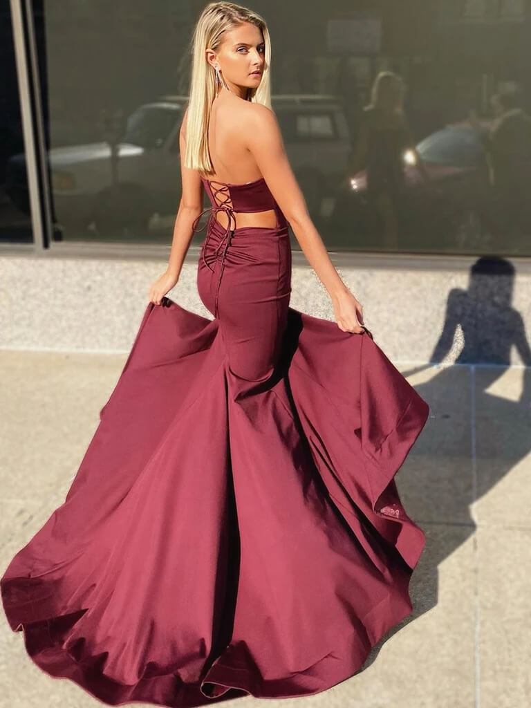 Burgundy Mermaid Prom Dress with Corset Back, Maroon Mermaid Formal Evening Graduation Dresses