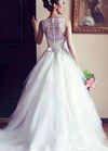 High Quality Long A-line Lace Sleeveless Wedding Dresses with Pearls, WD0056