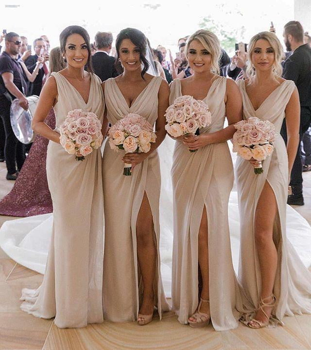 Simple V Neck Sleeveless Side Slit Chiffon Cheap Bridesmaid Dresses