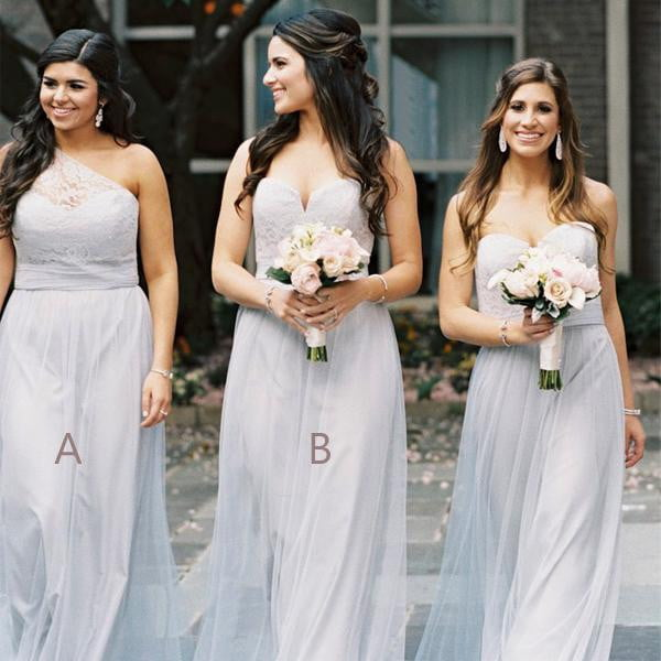 Simple Sweetheart Sleeveless Lace A Line Long Bridesmaid Dresses