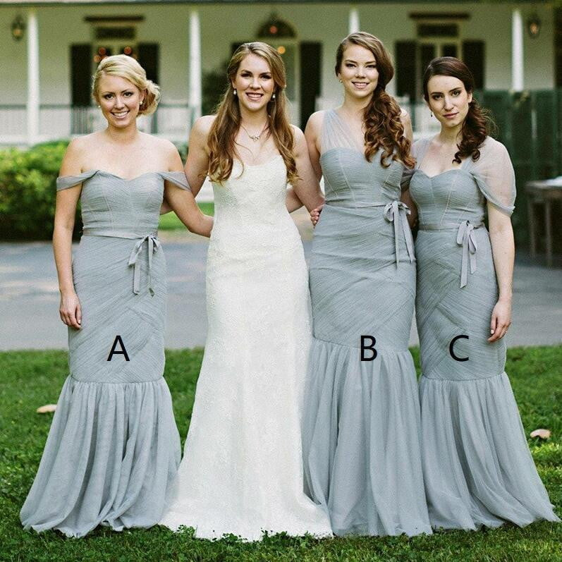 Simple Sweetheart Sleeveless Mermaid Tulle Long Bridesmaid Dresses