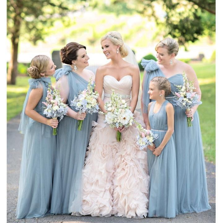 Simple One Shoulder Sleeveless A Line Tulle Long Bridesmaid Dresses