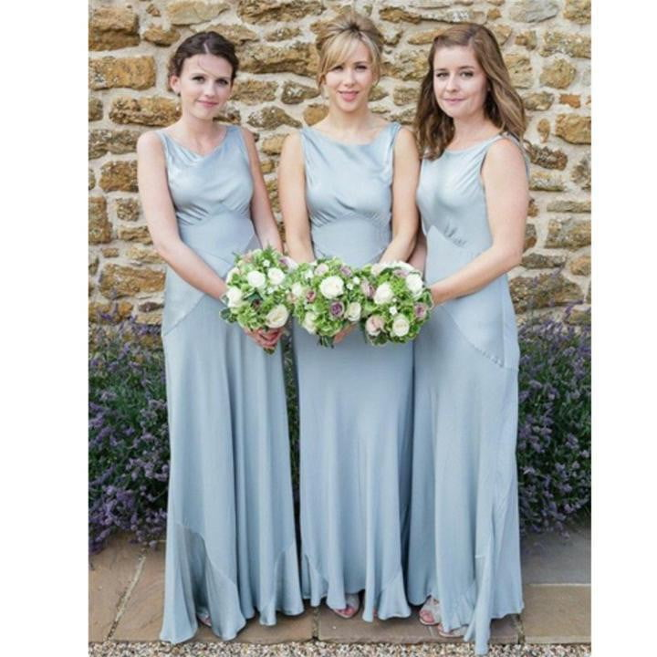 Simple Scoop Neck Sleeveless Long Cheap Bridesmaid Dresses