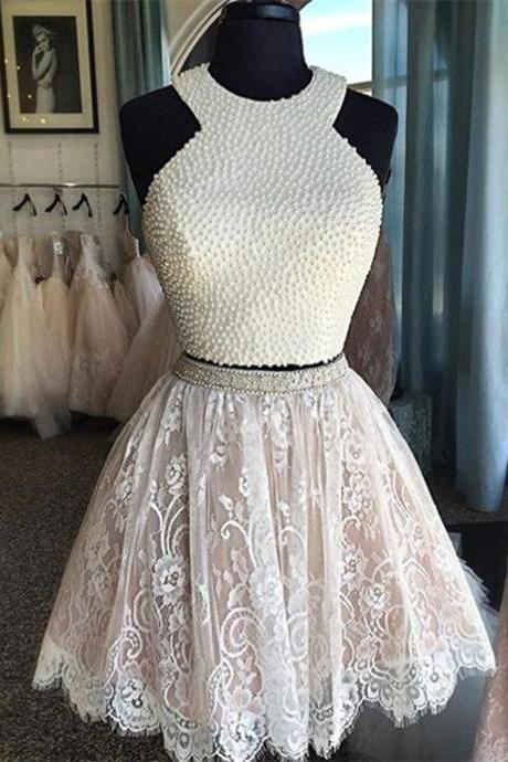Beige Scoop two pieces beaded cheap short lace homecoming dress,A line Girls graduation dresses