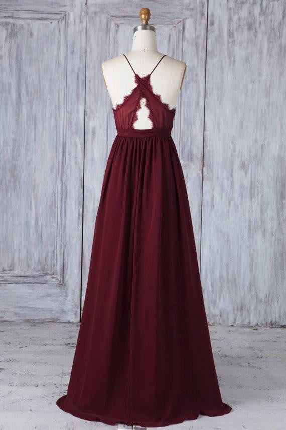 V Neck Sleeveless Backless A Line Chiffon Long Bridesmaid Dresses