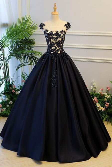 Dark Navy Sheer Round Neck Lace Appliqués Satin Princess Ball Gown,Open back A Line Quinceanera dresses