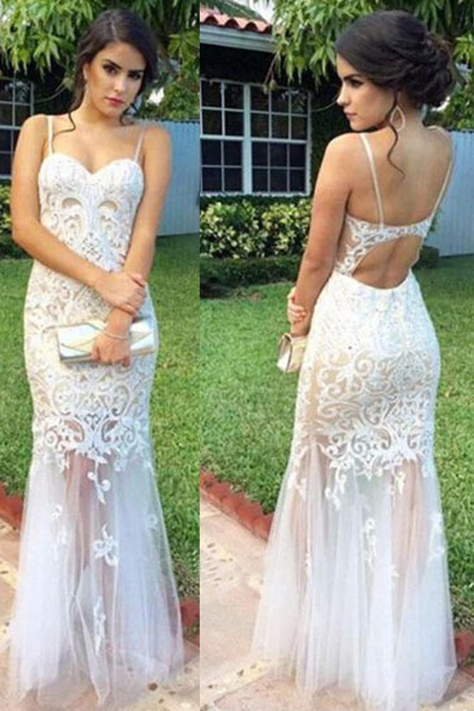Spaghetti Straps Open Back Sweetheart Mermaid Prom Dresses Lace Party Dresses P926