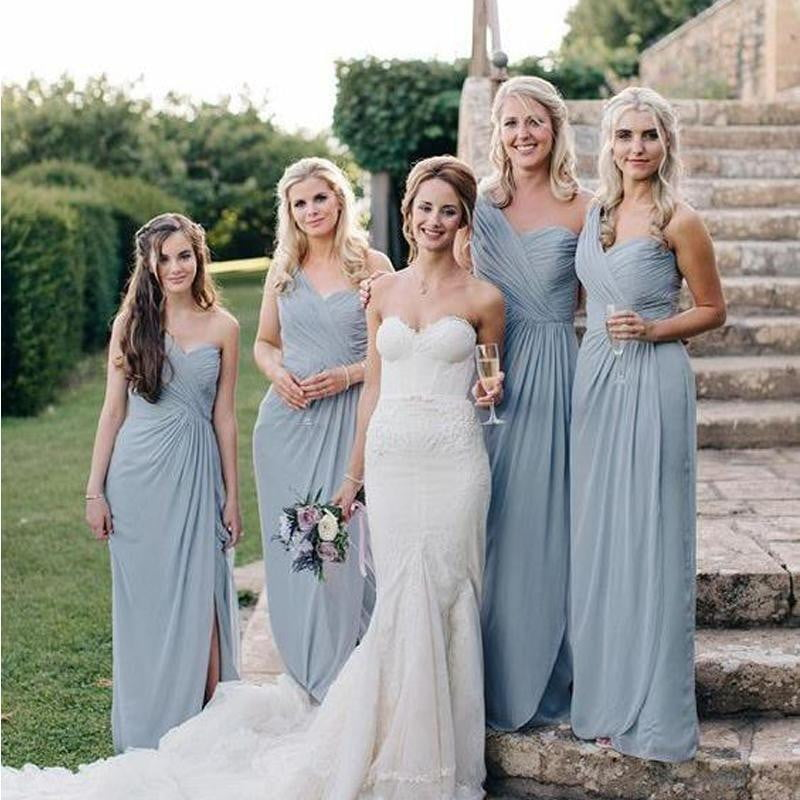 Sky Blue One Shoulder Sleeveless Side Slit Chiffon Bridesmaid Dresses