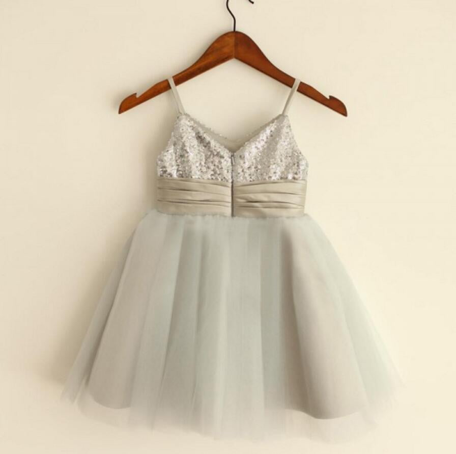 Sparkly Spaghetti Strap V- Neck Light Gray Tulle Flower Girl Dresses With Handmade Flower Sash, FGS027