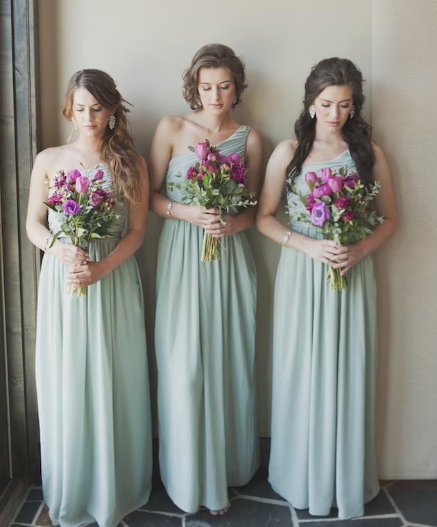 Simple One Shoulder Sleeveless Chiffon Long Bridesmaid Dresses