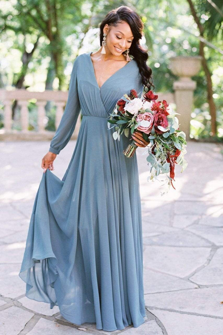 Simple V Neck Long Sleeve Backless A Line Chiffon Bridesmaid Dresses