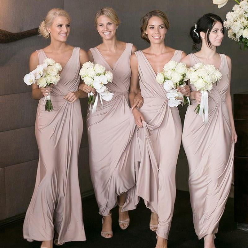 Simple Dusty Pink V Neck Sleeveless Long Chiffon Bridesmaid Dresses