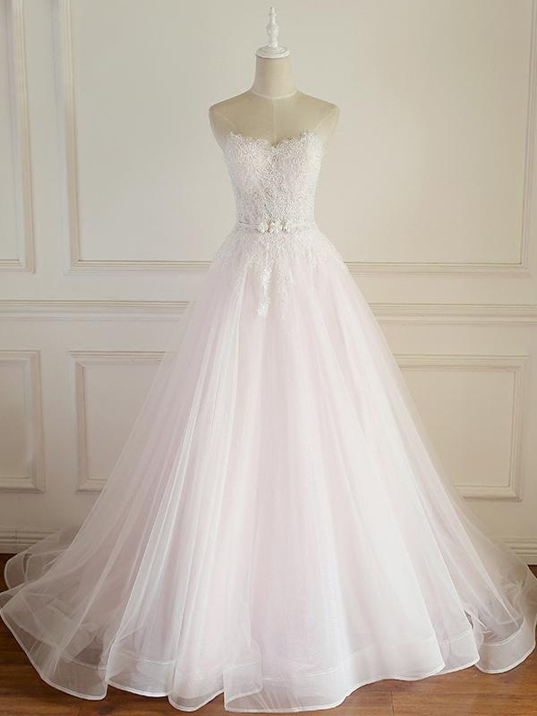 Strapless Wedding Dresses A line Lace Applique fishtail Bridal Gown Rhinestones Natural Waist Court Train Bridal Dress