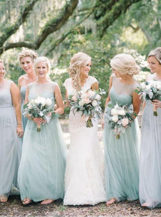 Simple Green Scoop Neck Sleeveless A Line Tulle Long Bridesmaid Dresses