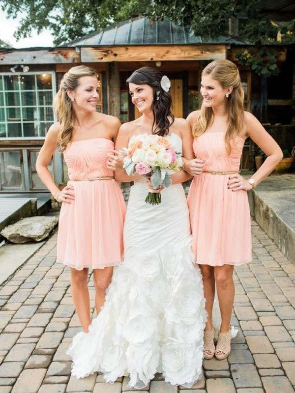 Simple Pink Strapless Sleeveless A Line Chiffon Short Bridesmaid Dresses