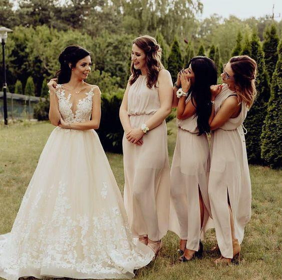 Simple Sleeveless A Line Side Slit Chiffon Long Bridesmaid Dresses