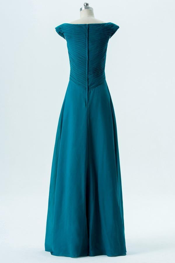 Winter Teal A Line Floor Length Capped Sleeve Chiffon Bridesmaid Dresses B145