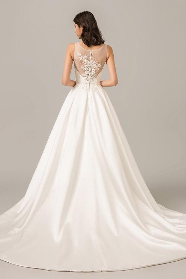 White A Line Court Train Sleeveless Sheer Back Appliques Wedding Dress,Perfect Wedding Gowns W277