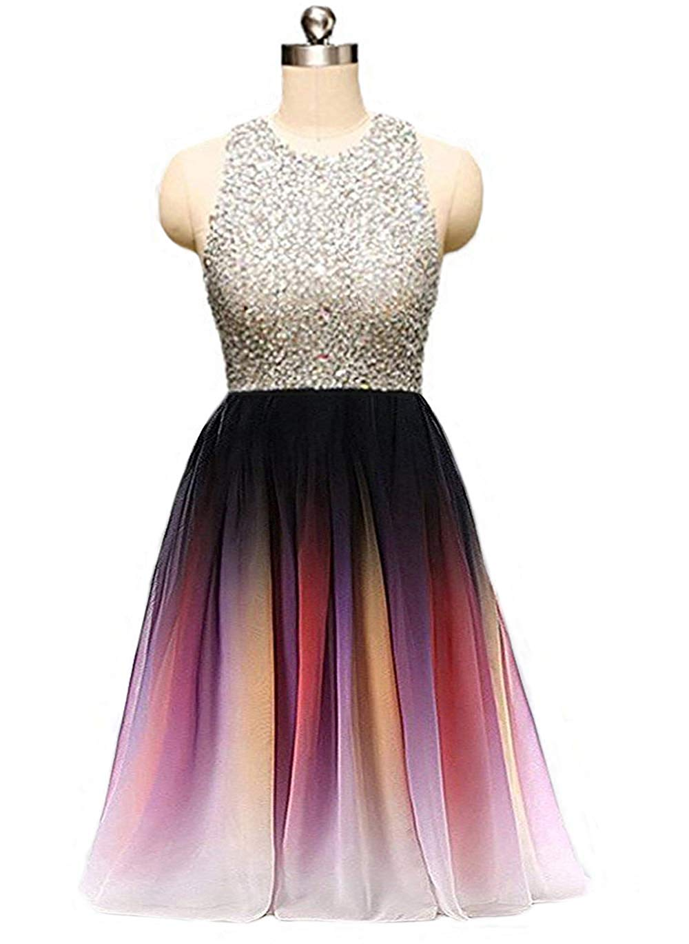 2019 A-Line Ombre Mini Homecoming Dresses Short Chiffon Prom Gown Gradient Formal Beaded Cocktail Dress
