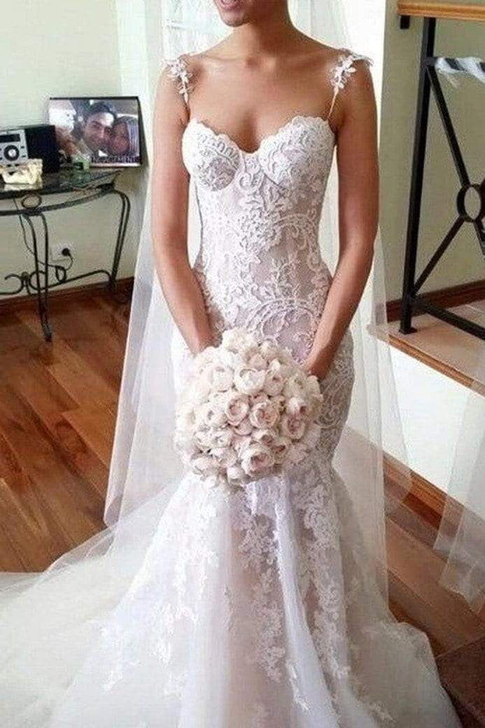Sweetheart Sleeveless Spaghetti Straps Wedding Dresses With Lace Appliques W469