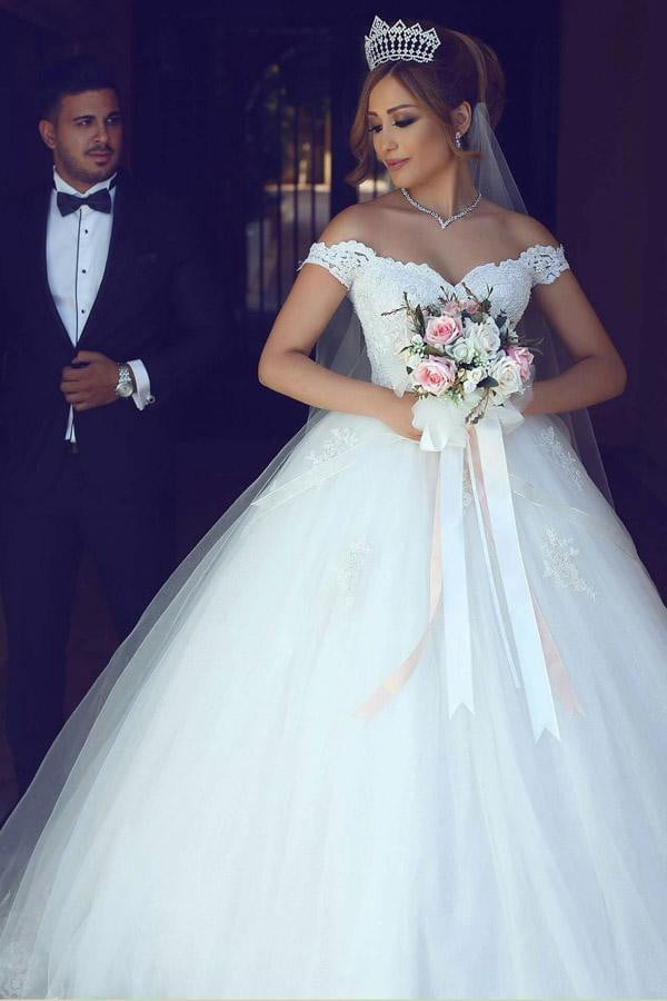 White Ball Gown Floor Length Off Shoulfer Layers Lace Wedding Dress,Beach Wedding Dress W235