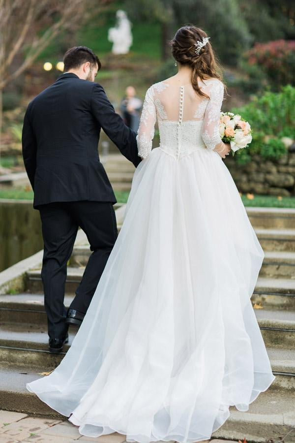 White Ball Gown Court Train Sweetheart 3/4 Sleeve Layers Wedding Dress,Wedding Dress W247