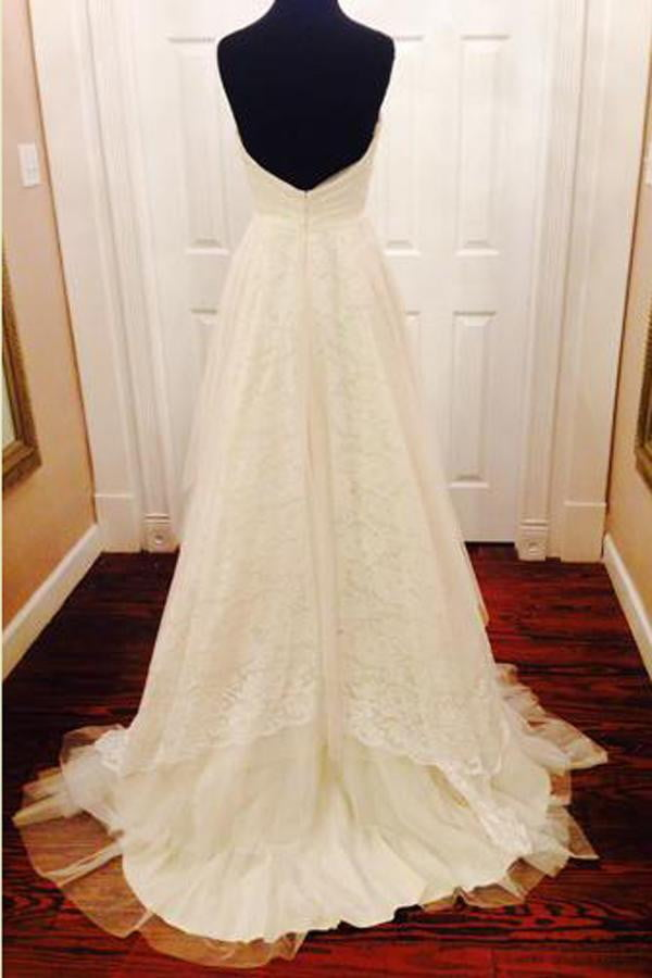 Sweetheart Strapless Low Back Wedding Gown,Sweep Train Appliques Ruffles Wedding Dress W131
