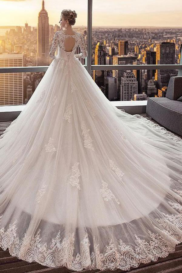 White A Line Chapel Train 3/4 Sleeve Appliques Wedding Dress,Perfect Wedding Dress W270