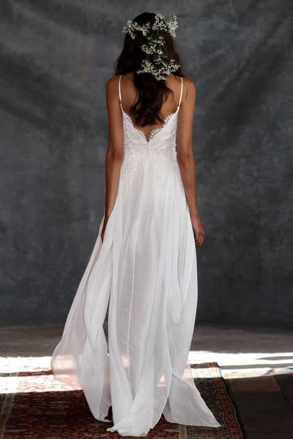 White A Line Floor Lemgth Spaghetti Sleeveless Appliques Lace Wedding Gown,Wedding Dress W192