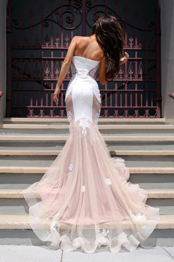 Trumpet Sweetheart Sleeveless Tulle Court Train Prom Dress,Party Dress P380
