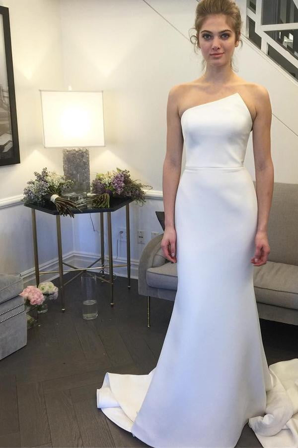 White Trumpet Sweep Train Strapless Sleeveless Mid Back Prom Dress,Wedding Dress P312