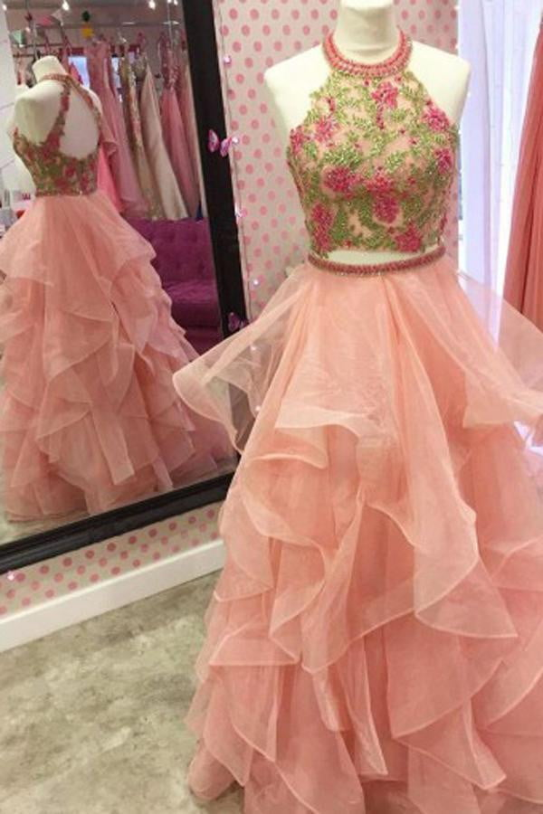 Watermelon Two Piece A Line Floor Length Strapless Sleeveless Ruffles Prom Dress,Party Dress P421