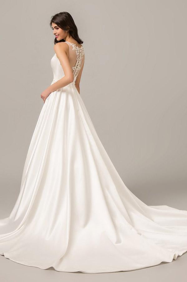 White A Line Court Train Deep V Neck Sleeveless Wedding Dress,Perfect Wedding Gowns W282