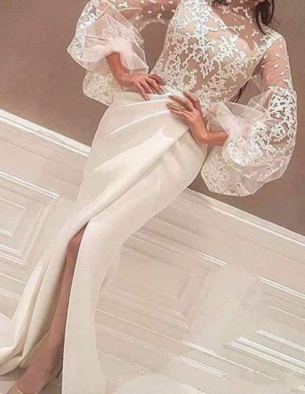Unique Illusion Lace Lantern Sleeve Mermaid Wedding Dresses, AB1511