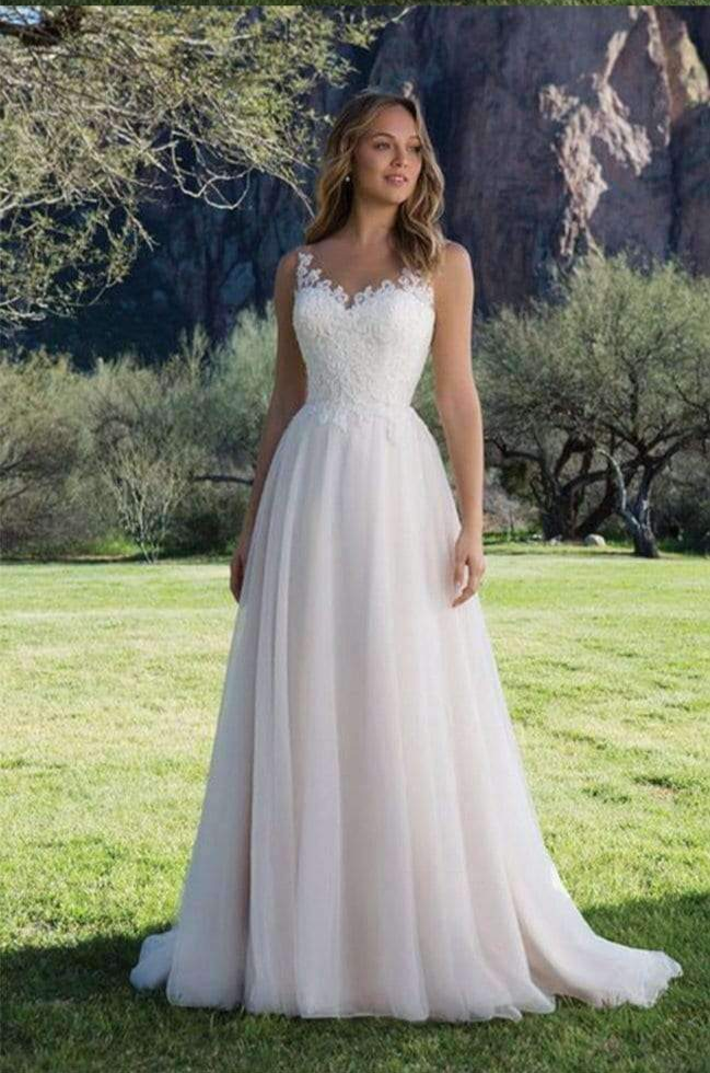 Charming Tulle Lace Sweetheart With Appliques Wedding Dress W316