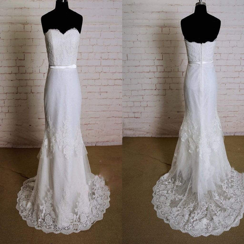 Special Strapless Lace Design Wedding Dress with Sweetheart Neckline Layered Skirt Bridal Gown with Thin Bottoming Lace, WD0163