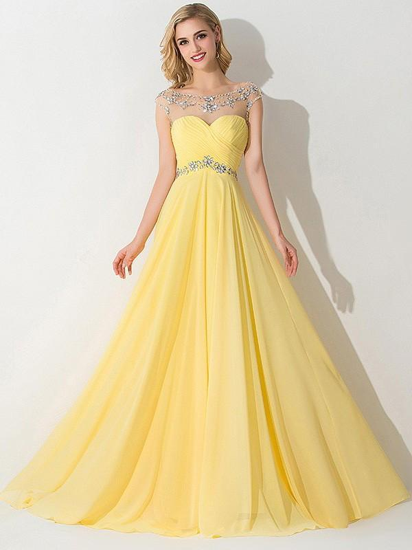 Yellow A-line Sleeveless Bateau Chiffon Ruched Sweep Train Prom Dresses