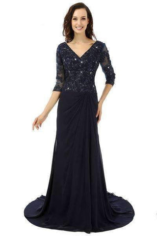 3/4 Sleeves 2019 Mermaid V-neck Navy Blue Chiffon Lace Bead Formal Groom Mother Dresses