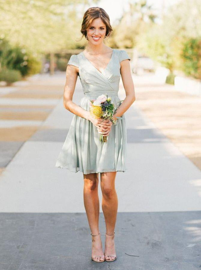 Simple V Neck Cap Sleeve A Line Chiffon Short Bridesmaid Dresses