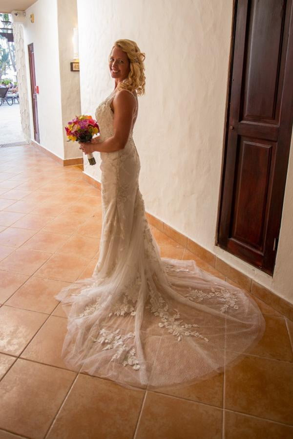 White Sheath Court Train Sweetheart Spaghetti Backless Lace Wedding Gown,Wedding Dress W179