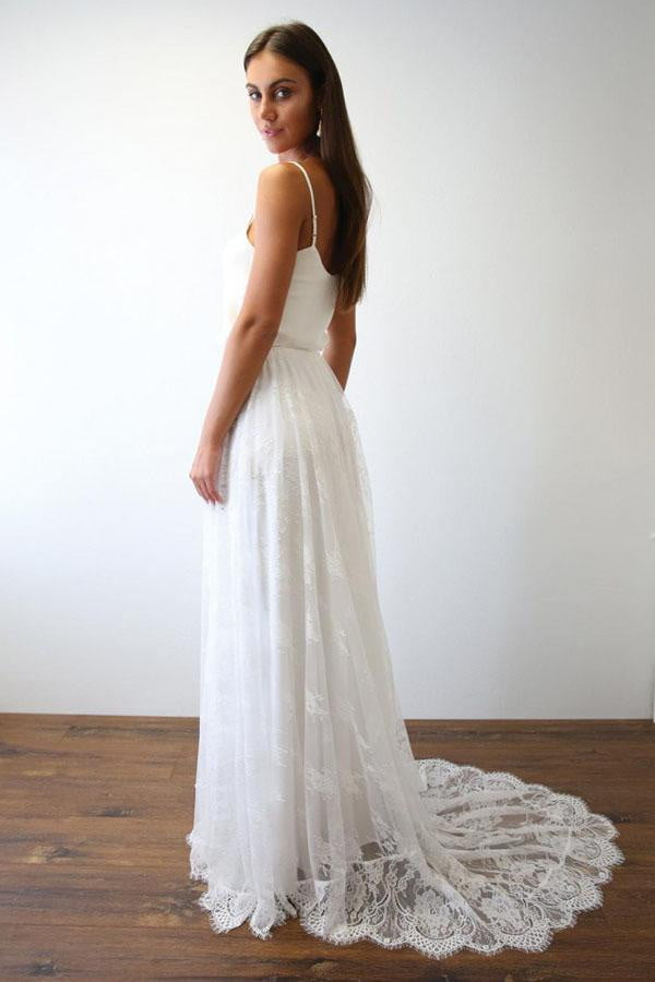 White A Line Brush Train Spaghetti Sleeveless Lace Wedding Dress,Beach Wedding Dress W229