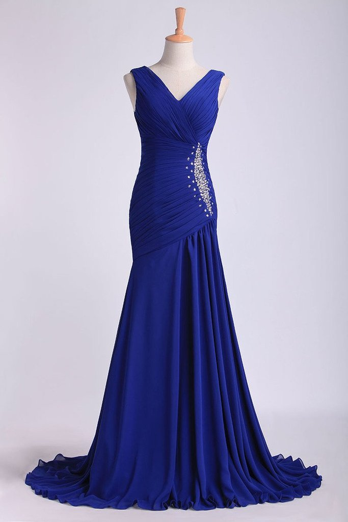 Bule V Neck Beading Pleated Bodice Column Chiffon Sweep Train Prom Dress With