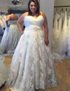 Impressive Sweetheart Sleeveless A Line With Appliques Wedding Dresses W339