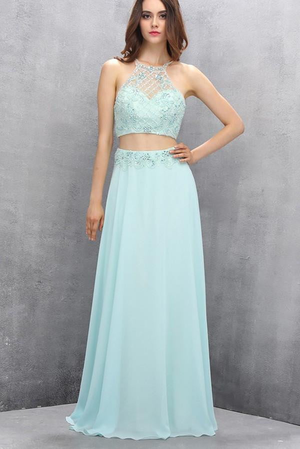 Two Pieces Sequins Homecoming Dress,Light Blue Chiffon Sexy Prom Dress2019 HCD17