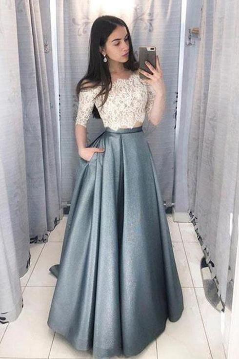 Two Piece Off the Shoulder Half Sleeves Lace Long Prom Dress P831