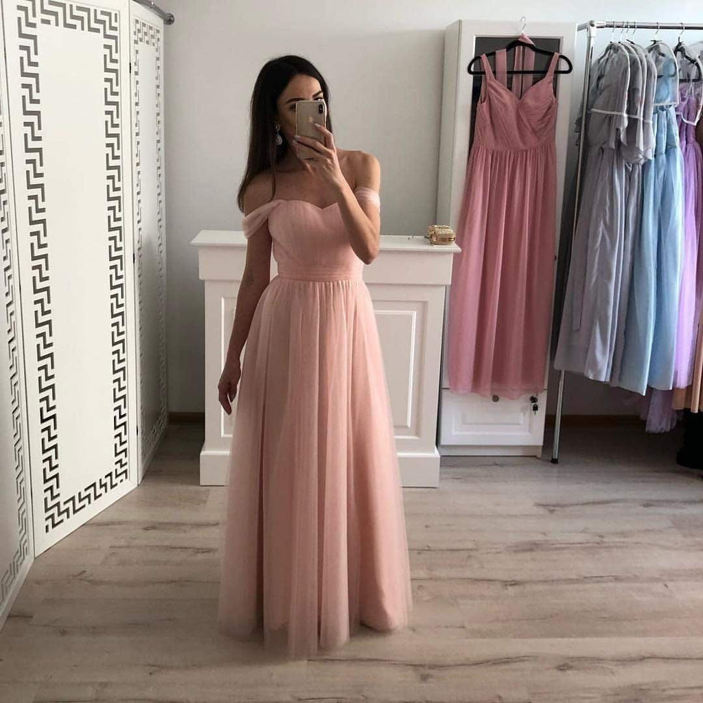 Simple Off Shoulder Sweetheart Pink Tulle Floor Length Prom Dresses P978