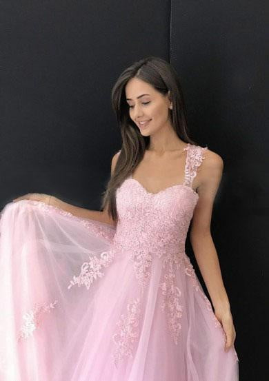 Sweetheart Straps Sleeveless Floor Length Tulle Lace Appliques Prom Dresses P979